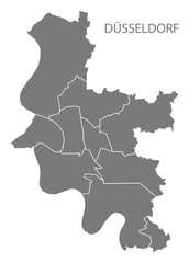 Dusseldorf city map with boroughs grey illustration silhouette shape