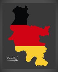 Dusseldorf map with German national flag illustration