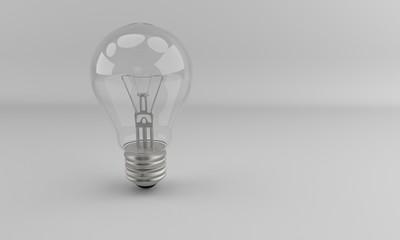 Bulb on the white,3d