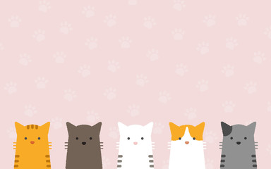 cute flat pastel cat portrait with cat's paws pattern background