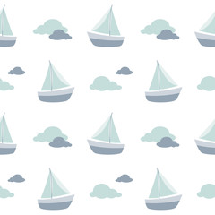 sailboat pattern, sailing boat pattern, wallpaper, background, seamless pattern, clouds pattern