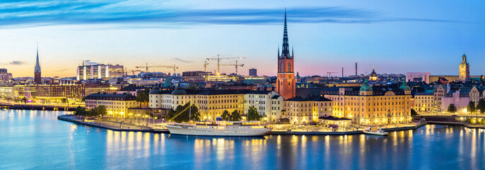 In de dag Stockholm Panoramic view on Stockholm skyline in Old Town (Gamla Stan) in the evening, Sweden