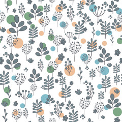 Seamless pattern with dark silhouettes of flowers and plants on white background.