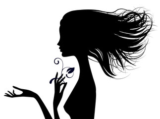 Black silhouette of fine naked girl head half-face with loose hair