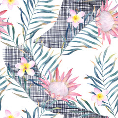 Watercolor exotic seamless pattern, green tropical leaves, protea and plumeria. Botanical summer illustration on white background