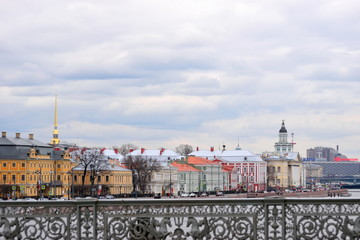 View of the Peter and Paul fortress, the Kunstkammer and the embankment of the Neva river from the Blagoveshchensky bridge