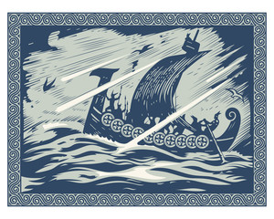 Viking design. Drakkar sailing in a stormy sea. In the frame of the Scandinavian pattern