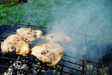 Photo barbecue for the grilled chicken meat.