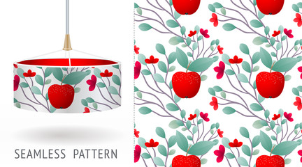 A set of summer seamless unique abstract fruit and flowers patterns, demonstrated on textile lampshades. Can be used for embroidery, print or silkscreen on fabric.