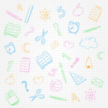 Concept of school background with doodles on checked paper. Vector.