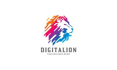 Colorful Digital Lion Logo Vector