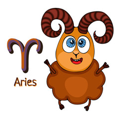 Zodiac sign cartoon Aries, astrological character. Painted funny aries with a symbol isolated on white background, vector drawing