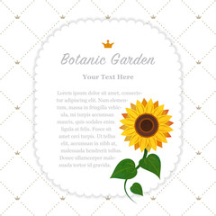 Colorful watercolor texture vector nature botanic garden memo frame sunflower