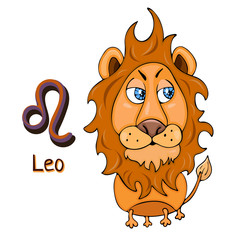 Zodiac sign cartoon Leo, astrological character. Painted funny leo with a symbol isolated on white background, vector drawing
