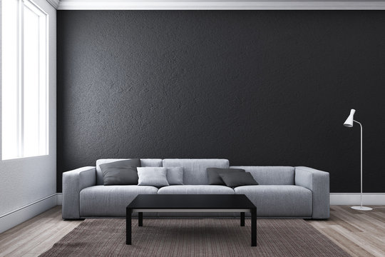 Contemporary living room with sofa and window.3D illustration