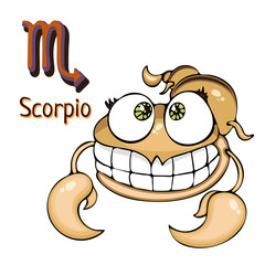 Zodiac sign cartoon Scorpio, astrological character. Painted funny scorpio with a symbol isolated on white background, vector drawing
