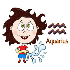 Zodiac sign cartoon Aquarius, astrological character. Painted funny aquarius with a symbol isolated on white background, vector drawing