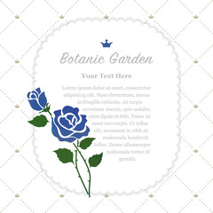 Colorful watercolor texture vector nature botanic garden memo frame blue rose