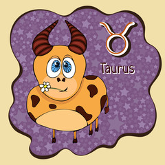 Zodiac sign cartoon Taurus, astrological character, hand drawing. Painted funny taurus in the frame in the form of an abstract purple ink spot with background of stars. Vector