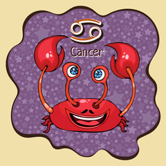 Zodiac sign cartoon Cancer, astrological character, hand drawing. Painted funny cancer in the frame in the form of an abstract purple ink spot with background of stars. Vector
