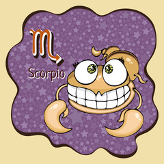 Zodiac sign cartoon Scorpio, astrological character, hand drawing. Painted funny scorpio in the frame in the form of an abstract purple ink spot with background of stars. Vector