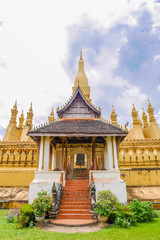 Svelte and golden Pha That Luang is the most important national monument in Laos located in Vientiane.