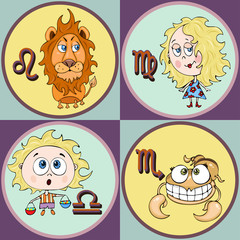 Set zodiac sign cartoon, Leo, Virgo, Libra, Scorpio. Painted funny astrological characters and symbols in a round frame multicolored on colorful background. Vector