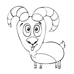 Cartoon funny goat for coloring book isolated on white background, vector black and white hand drawing, monochrome