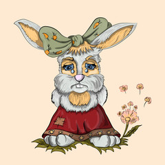 Little rabbit girl crying