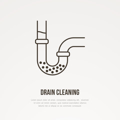 Drain cleaning flat line icon. Outline sign of blocked water pipe. Vector illustration for repair or plumbing service.