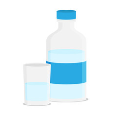 Flat illustration of glass water and bottle vector