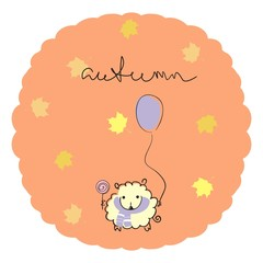 "Sheep with a balloon and a Lollipop on orange background with maple leaves and a handwritten title ""autumn"". Vector illustration. Doodle art."