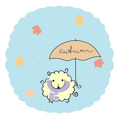 "Lamb under an umbrella with a handwritten inscription ""autumn"" on a blue background with rain and maple leaves. Autumn illustration"