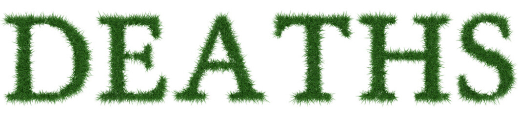Deaths - 3D rendering fresh Grass letters isolated on whhite background.