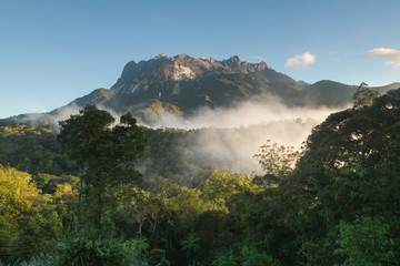 Mountain and blue sky with clouds on the jungle (Mount Kinabalu, Borneo, Malaysia)