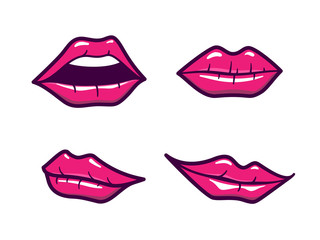 Woman lips set with glossy pink makeup in cartoon comic style isolated on white. Female mouths close up with different emotions. Vector flat outline icons collection