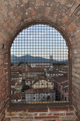 Old town Lucca in a window frame