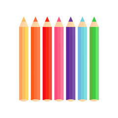 Coloured pencils vector graphic. Yellow, orange, red, pink, purple, blue and green colored pencil, isolated on white background. Rainbow pencils.