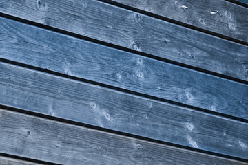 Old blue painted wood wall - texture or background