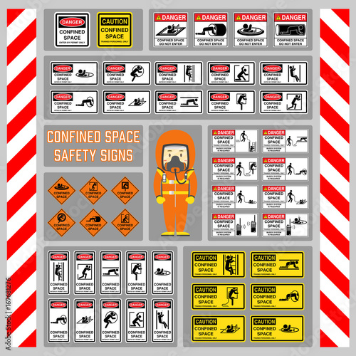 Set Of Safety Signs And Symbols Of Confined Space Signs And Symbols