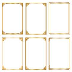Set Decorative frame and borders, Golden frame on white background. Thai pattern
