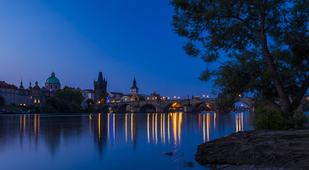 Beautiful morning in Prague. Vltava River, Charles Bridge and Old town of Prague, Czech Republic.