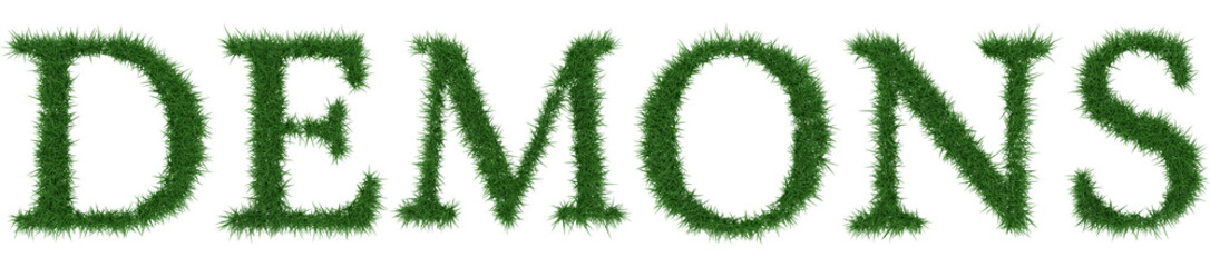 Demons - 3D rendering fresh Grass letters isolated on whhite background.