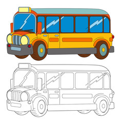 funny looking cartoon yellow bus - isolated coloring page illustration for children