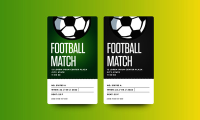 Football Match Event Ticket Card Design With Seat and Venue Details