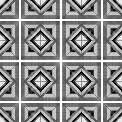 Black and white geometric seamless pattern with squares. Vector illustration