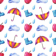 hands drawn watercolor autumn seamless pattern with umbrella, cloud, raindrop, apple and rubber kneeboot on white background for your design