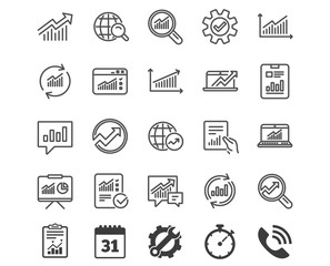 Analysis line icons. Charts, Reports and Graphs.