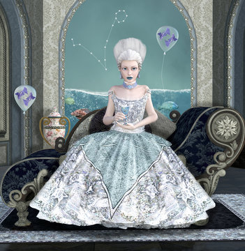 Zodiac series inspired by Marie Antoinette - Pisces as a baroque woman with glass, balloons and fishes