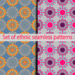 Set of ethnic seamless patterns (blue, orange, gray, red, burgundy, beige).